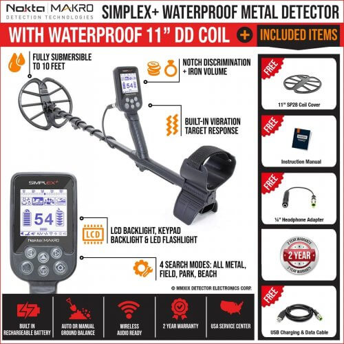 Waterproof Detector with 11 Coil and Pinpointer Nokta Makro Simplex