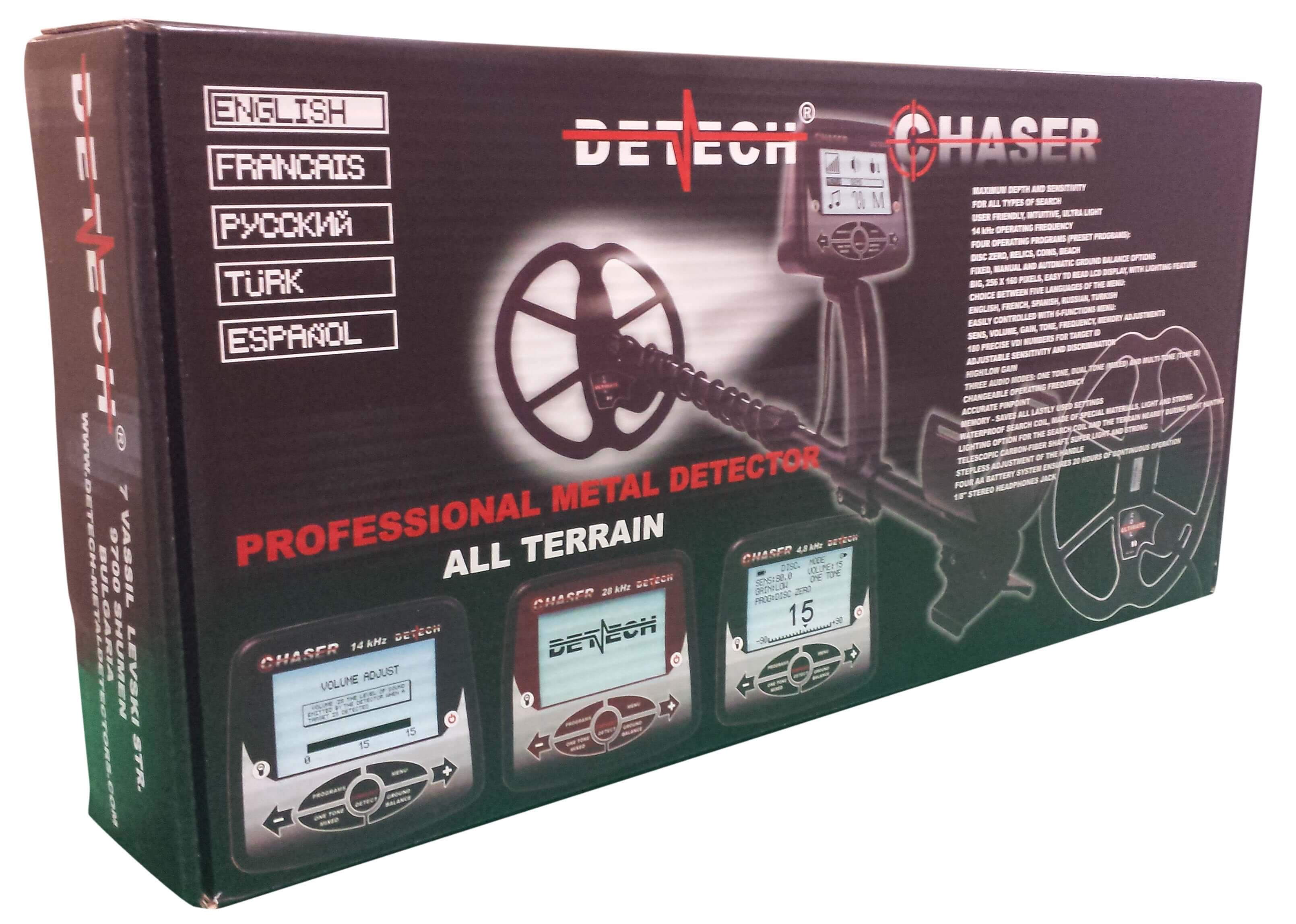 "Detech Chaser Metal Detector with 9"" Ultimate Coil Ships in a 31"" x 5"" x 14"" Color Box"