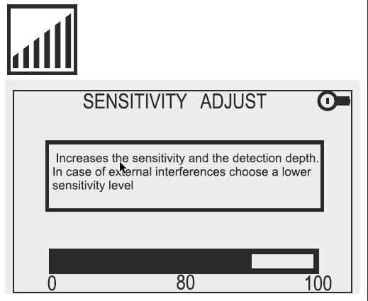 Detech Chaser Sensitivity Display